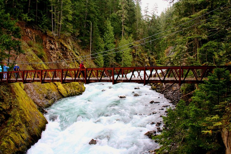 Crossing the Elwha River at the start of the Dodger Point Trail.