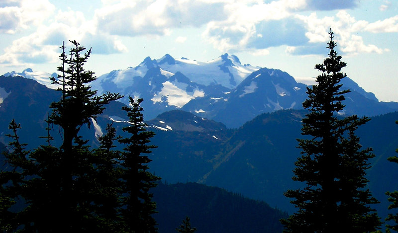 The rarely seen summit of Mount Olympus from Dodger Point.