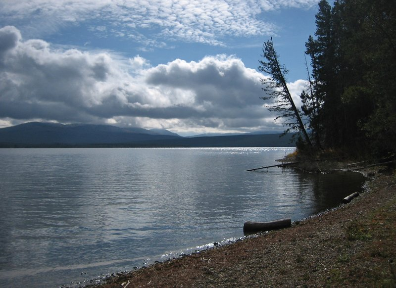 Heart Lake near a western shore campsite.