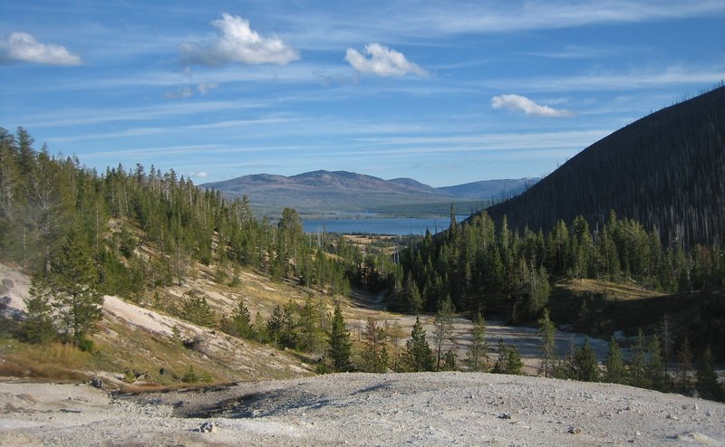 A classic Yellowstone view down the Witch Creek drainage to Heart Lake.