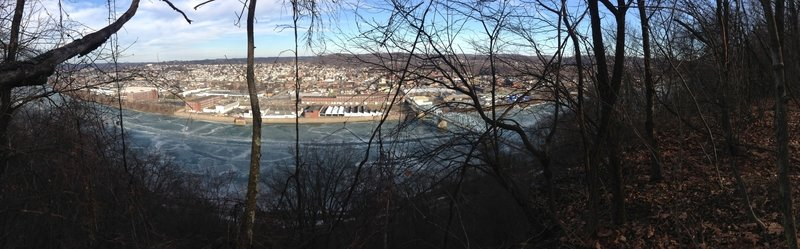 Overlooking the Allegheny River and New Kensington (C.L. Schmitt Bridge pictured) at mile 18 in Agan park.