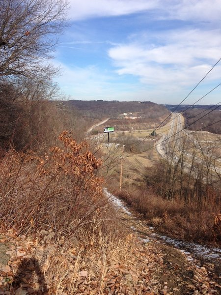 Looking ahead, you can see the next mile of RCT, down the utility corridor, nearing Rt 28, and then heading up Ridge Road, and back into trails at the top of the hill.