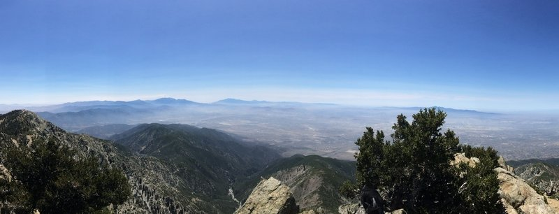 Panoramic view from Cucamonga Peak looking out towards San Gorgonio and the upper LA basin.