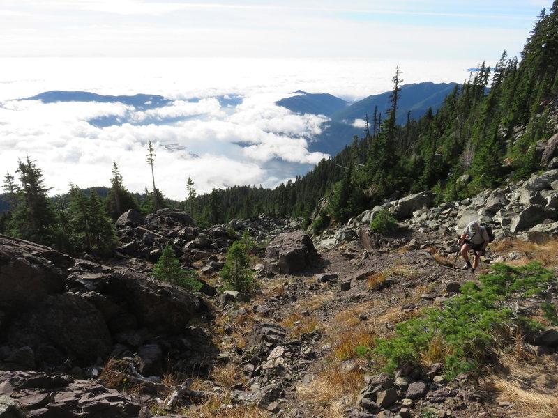 Through a rubble field on Mt. Ellinor trail.