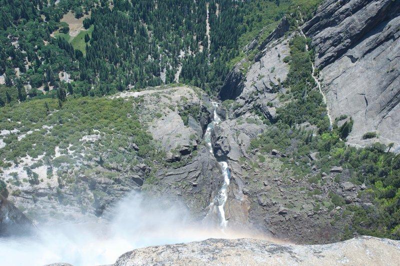 Upper Yosemite Falls plummets until it hits the Middle Cascades where Yosemite Creek works it way to Lower Yosemite Falls.