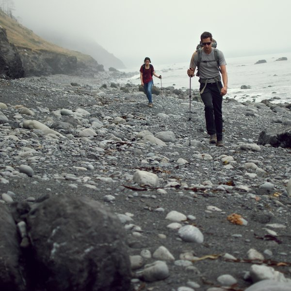 Challenging terrain on Lost Coast Trail.