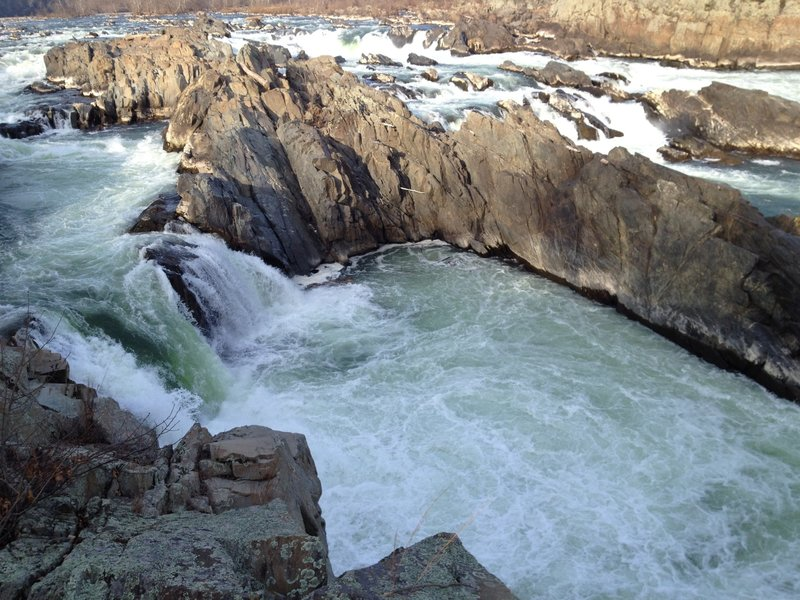Looking at Great Falls from the edge of the overlook.
