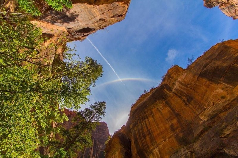 Rainbow just above the entrance to the Subway, Zion National Park.