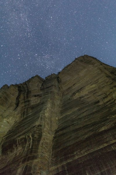 Night sky in the Zion Narrows at Campsite 8, Zion National Park.