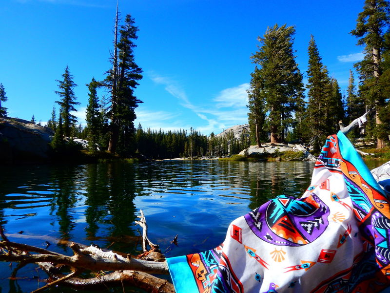 Relaxing after a swim at Karl's Lake, near the Bell Meadow Trail in the Emigrant Wilderness.