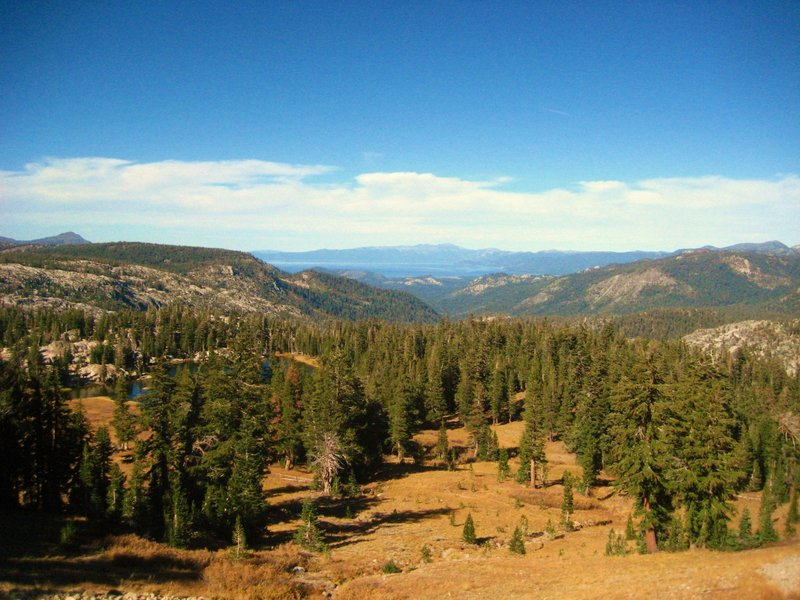 On trail to Showers Lake with views of Big Meadow Creek area and South Lake Tahoe!