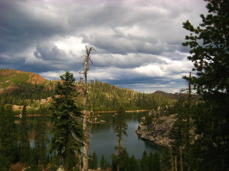 Clouds rolling in at Island Lake, Carr/Feely trailhead. Tahoe N.F.