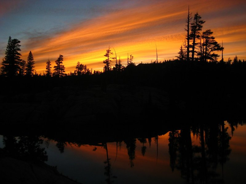The wispy wind had created some insane sunset colors over our camp near the Bell Meadow Trail!