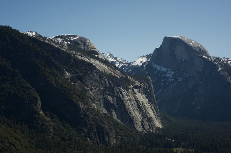 Views of North Dome and Half Dome from the Upper Yosemite Falls Trail.