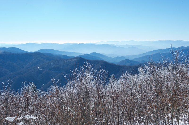 Looking out over the Smokies on the North Carolina side of the AT.