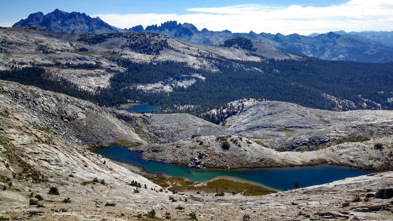 Spectacular High Sierra alpine view east of Ward Lake, Sadler Lake, the Ritter Range Minarets and Mammoth Mountain just over the ridge.