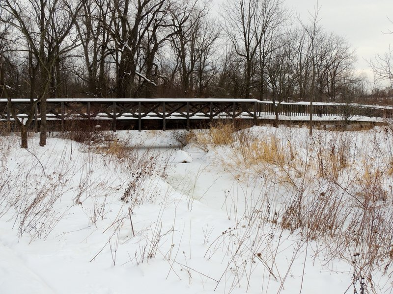 Bridge 4. Coffee Creek is frozen over.