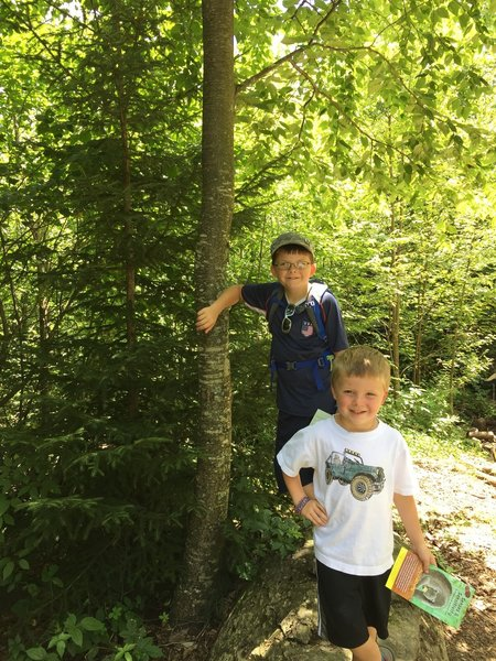 Hiking along the Limberlost Trail doing the Kids in Parks Track Trail. This can be found at the trailhead.
