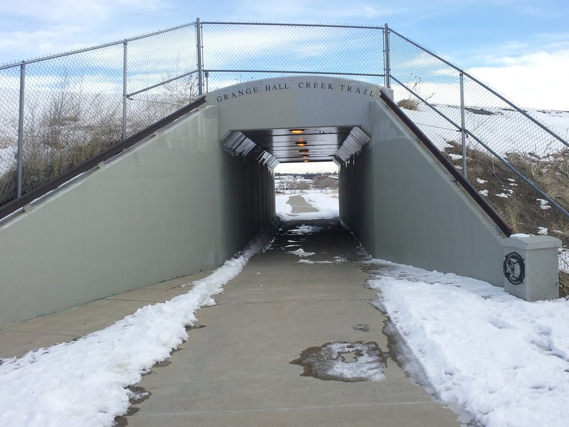 """Trail goes under the railroad tracks. Yes, here it is back to being called """"Grange Hall Creek Trail."""""""