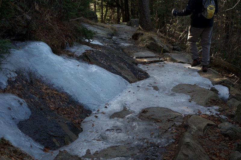If hiking in the late spring or late fall, be careful of ice on the trail. This section is very shaded during the day, so snow and ice may not melt as fast as other areas.