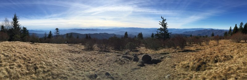 Andrews Bald and the Smokies on a relatively clear day.
