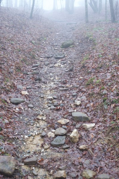 The final uphill push to the shelter is really rocky, and can be a stream if its been raining.
