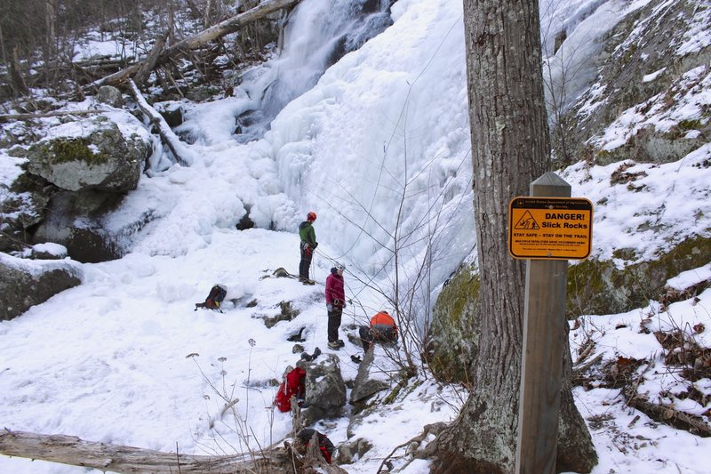 Ice climbers at Crabtree Falls in January.