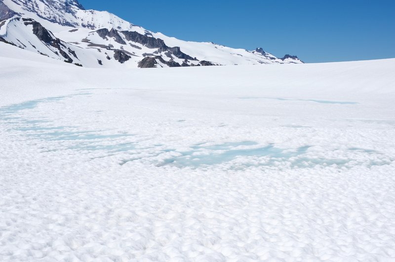 Frozen lake in July.