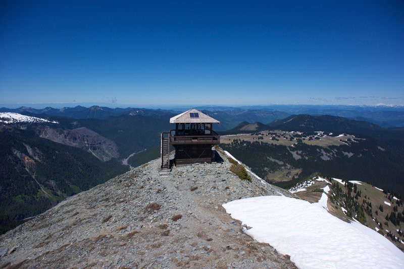 The lookout tower out on the end of the ridge. It's a great view of the Cascade Range and other surrounding mountains.