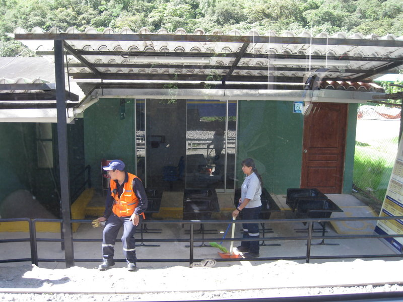 The waiting area for the train. It is possible to trek the rest of the way to Aguas Calientes and Machu Picchu, but we took the train.