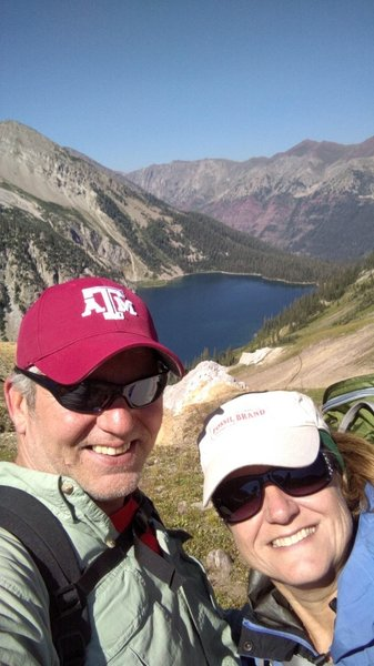 We are on top of Trail Rider Pass 12,400 looking down on Snowmass Lake. Absolutely breathtaking!