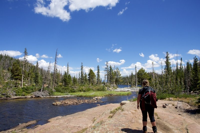 Looking at Middle Rainbow Lake in the distance.