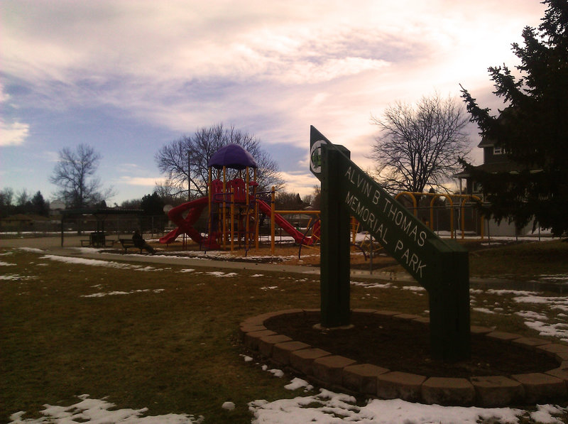 Play area at Avlin B. Thomas Park, located just north of the trail.