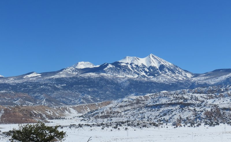 """Pointy Mount Tukunikivatz in the La Sals is locally referred to by the easier to say """"Mount Tuk"""""""