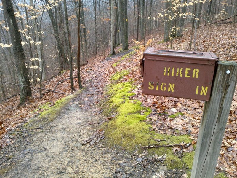 Hiker sign-in box, about a mile south of Jersey Bridge parking area, on the east side of Oil Creek in the park.