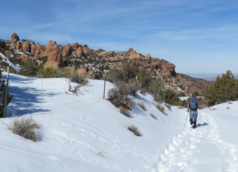 Snow hiking in T-shirt weather, gotta love Moab area hiking.