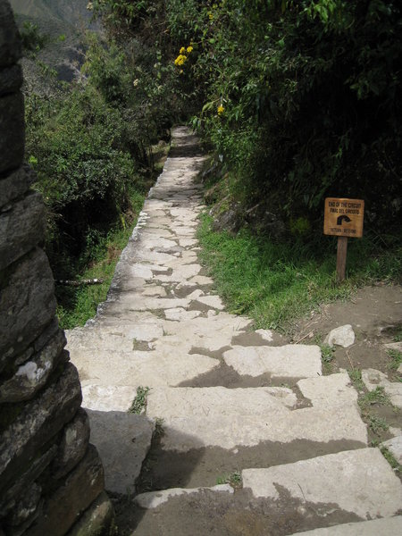 """The end of the traditional """"Inca Trail"""" as it enters the Machu Picchu area."""