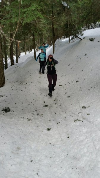 Snowshoeing on Trail 100.