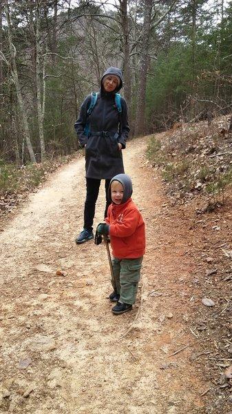 Little hikers need trekking poles sometimes, too.