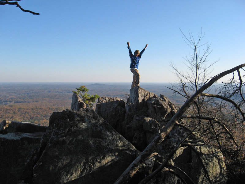 Celebrating at the summit of The Pinnacle at Crowder Mountain SP.