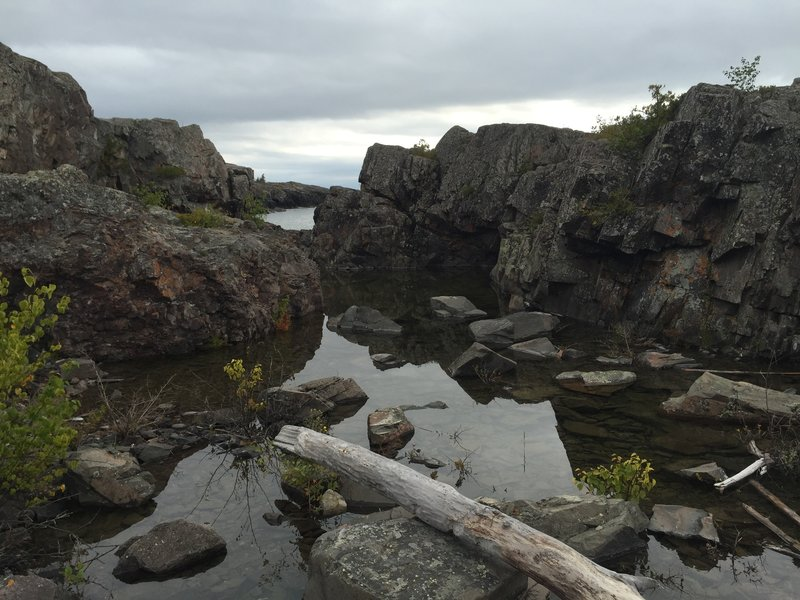 A rocky harbor just off the trail.