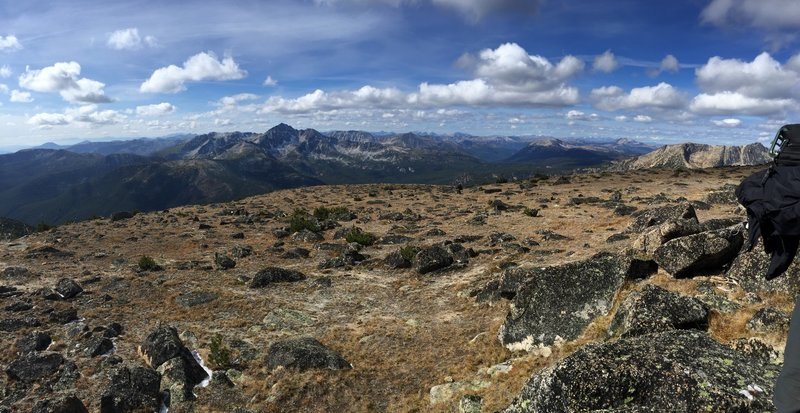 A sweeping panorama from the summit of Apex Mountain.