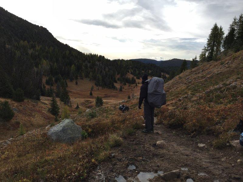 Hiking past Ampitheater Mountain