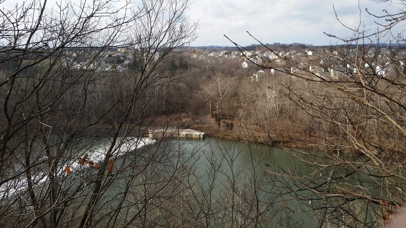 Looking over the Schuylkill River at Phoenixville, PA from the ravines at the top of the Neal Thorpe Trail