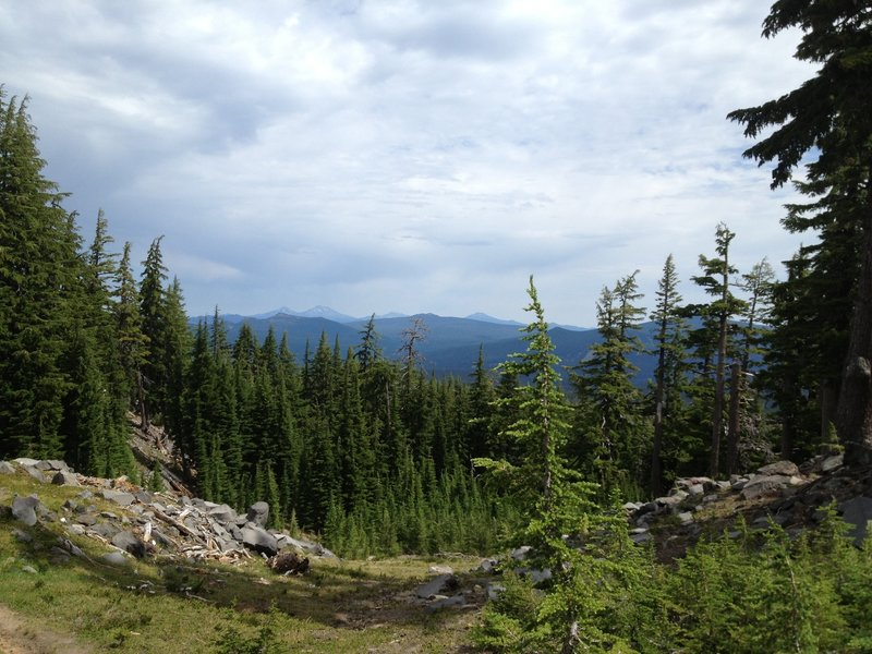 Views of the east side of the Cascades, as seen from the flank of Diamond Peak on the PCT.
