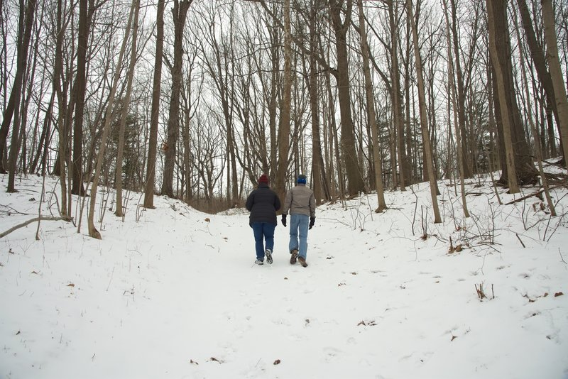 Hiking through the moraine on a winter day.