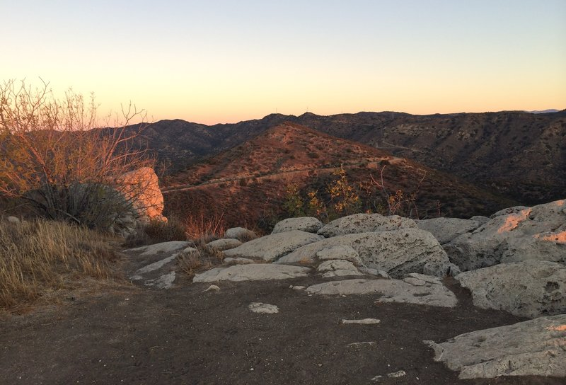 Top of the first climb - overlooks into the canyon and the surrounding communities of Bell Canyon and Hidden Valley.