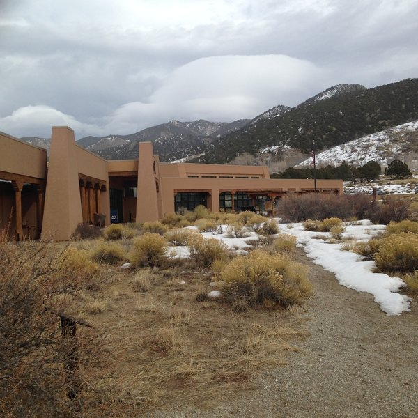 A cloudy day at the Great Sand Dunes Visitor Center.