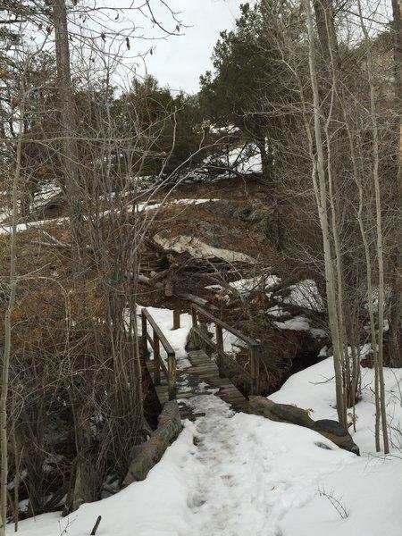 The bridge across Mosca Creek.