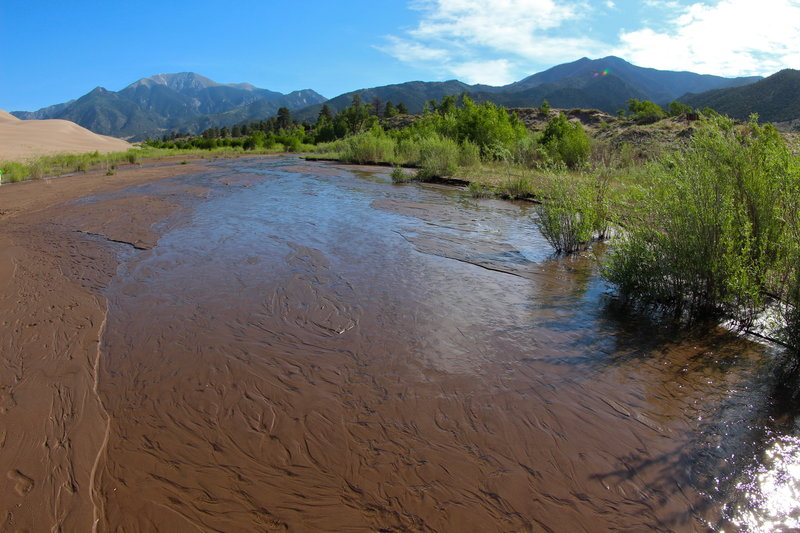 Views of Medano creek from the Sand Pit Trail.